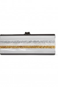Flavia striped glittered acrylic box clutch