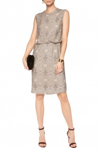 Draped embroidered georgette dress