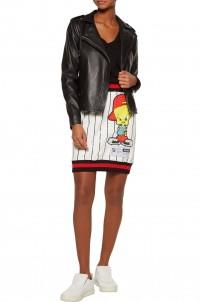Tweety appliqued striped ponte mini skirt