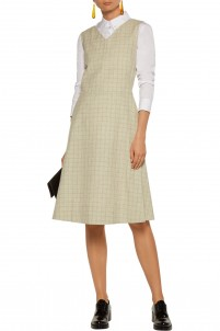Pleated checked cotton and linen-blend dress