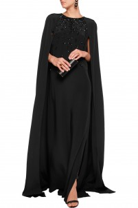 Cape-effect embellished silk-satin gown
