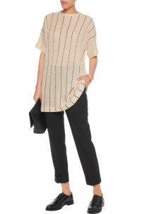 Sequined striped linen and silk-blend tunic