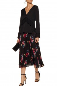 Pleated floral-print checked silk-mousseline maxi skirt