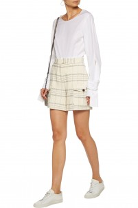 Metallic checked bouclé-tweed shorts
