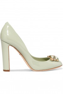 Crystal-embellished patent-leather pumps