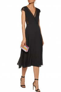 Alida embroidered mesh-paneled pleated cotton-blend crepe de chine dress