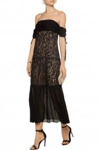 Arlene off-the-shoulder lace and silk-georgette dress