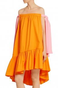 Off-the-shoulder stretch cotton-blend poplin dress