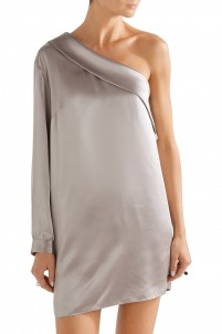 One-shoulder silk-satin mini dress
