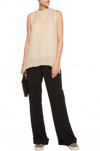 Embellished open-knit linen and silk-blend top
