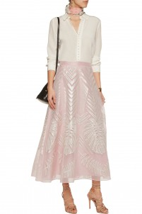 Kapena embroidered silk-tulle midi skirt