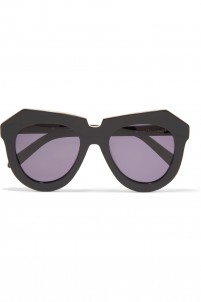 Aviator-style acetate and silver-tone sunglasses