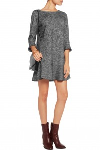 Houndstooth cotton and wool-blend mini dress