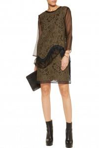 Corded lace and organza mini dress