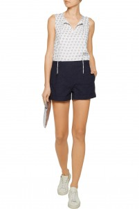 Gillian flocked stretch-cotton mini shorts