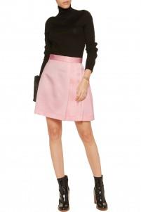 Pleated extured-satin mini skirt