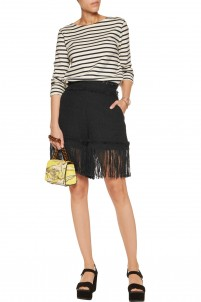 Fringed cotton-blend tweed shorts
