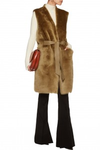 Plutosa belted leather-trimmed shearling gilet