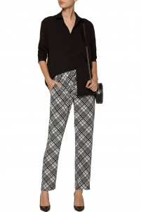Hadley checked washed-silk track pants