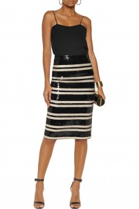 Rue striped sequined georgette pencil skirt