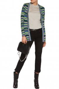 Metallic striped crochet-knit cardigan