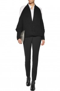 Cross front and draped back wool and cashmere-blend sweater