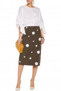 Printed cotton and flax-blend skirt