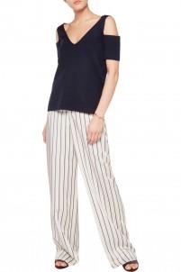 Savannah cold-shoulder milano-knit wool top