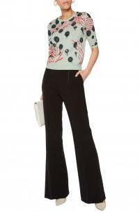 Embellished cotton-blend intarsia sweater