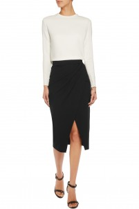Amber wrap-effect ponte-jersey skirt