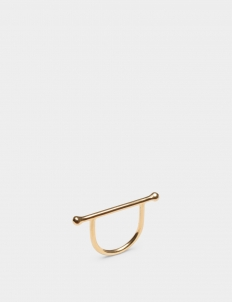 Dots and Bar Gold-Plated Brass Ring
