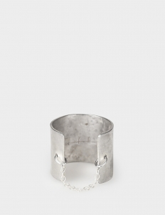 Silver-Plated Hammered Wide Ring with Fine Italian Chain