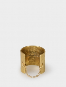 Gold-Plated Hammered Wide Ring with Fine Italian Chain