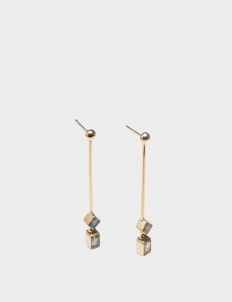 Monarch Gold-Plated Silver Earrings with Double Smokey Quartz Stone