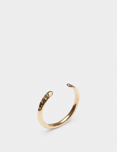 Crescent Gold-Plated Brass Ring with Hammered Detail