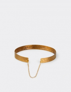 Classic Gold-Plated Hand-Hammered Narrow Bracelet with Fine Italian Chain