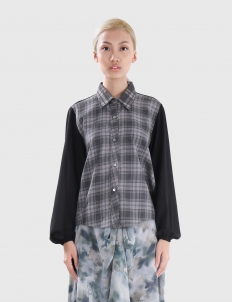 Plaid Top with Black Crepe Long Sleeves