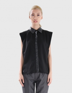 Crepe Sleeveless Top with Croc-Embossed Accents