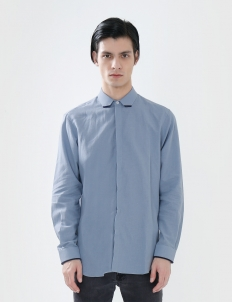 Long-Sleeved Shirt with Dark Blue Detail