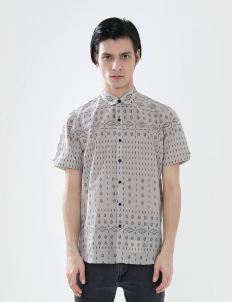 Short-Sleeved Shirt with Black Pattern