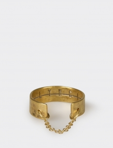Gold-Plated Hammered Extra-Slim Ring with Fine Italian Chain