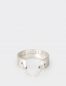 Silver-Plated Hammered Extra-Slim Ring with Fine Italian Chain