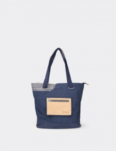 National Geographic Blue Leather Canvas Medium Tote Bag