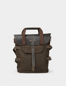 National Geographic Brown Leather Canvas Medium Tote Bag