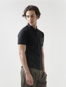 Pocket Black Polo Cotton Top