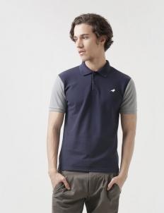 Navy Grey Clayton Polo Cotton Top