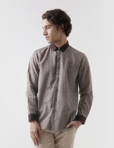 Cotton Chocolate Contrast Shirt