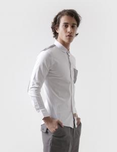 Epaulierre White Long-Sleeve Cotton Shirt