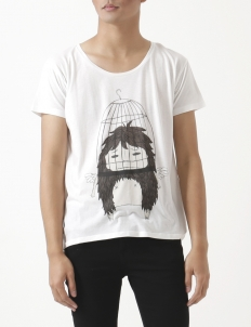 Caged Wide Neck T-shirt
