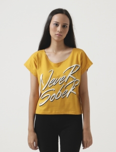 Never Sober Wide Neck Crop (Mustard)